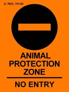 Animal Protection Zone Sign - Security from Trespass and Protecting Food Safety Act (Bill 156)